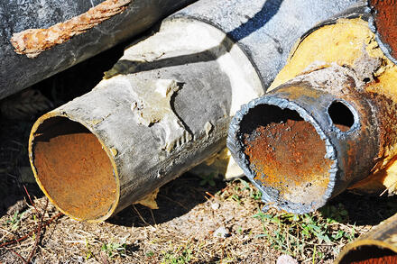 Steel pipes after years of standard wear and tear.