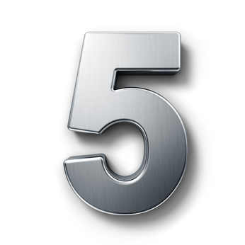 the number 5 representing the 5 things you shouldn't put in the garbage disposal