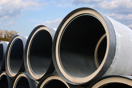 Large pipes in a line.
