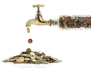 A faucet leaking money.